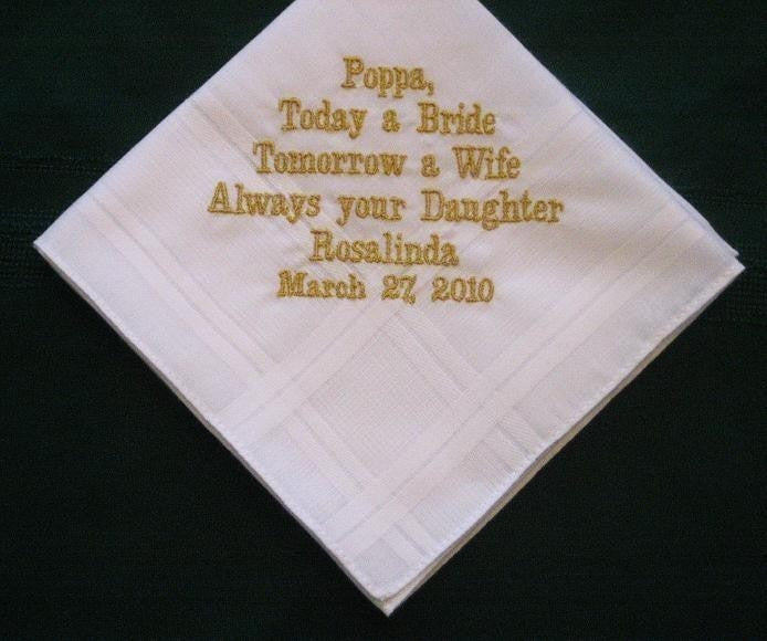 For Papa with gold thread 22B Personalized Wedding Handkerchief Father of the Bride