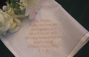 Personalized Wedding Gift -  Wedding hanky Linen from the Bride to the Groom with Gift Box 71B