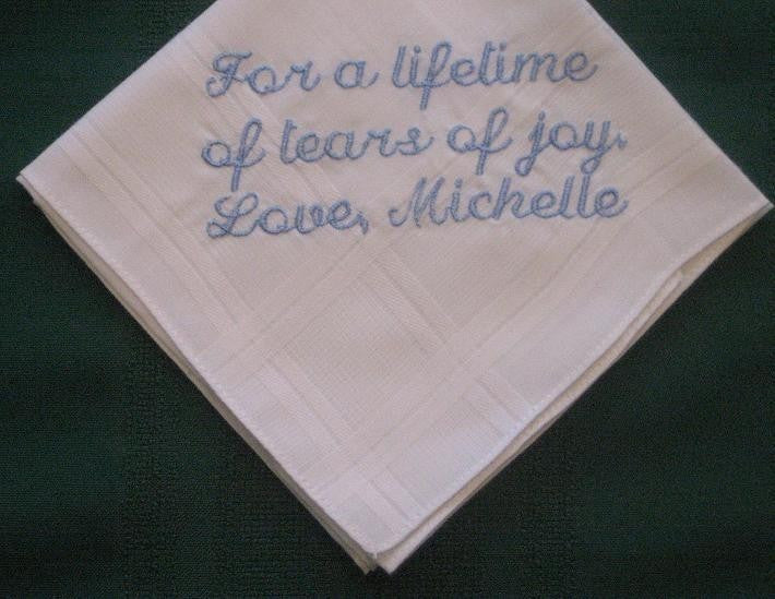 Personalized Wedding Gift - Wedding Handkerchief  from Bride to Groom with Gift Box 92S
