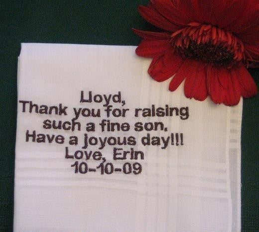 Bride to Father of the Groom Hanky 97B wedding handekrchief,bridal hanky,personalized hanie