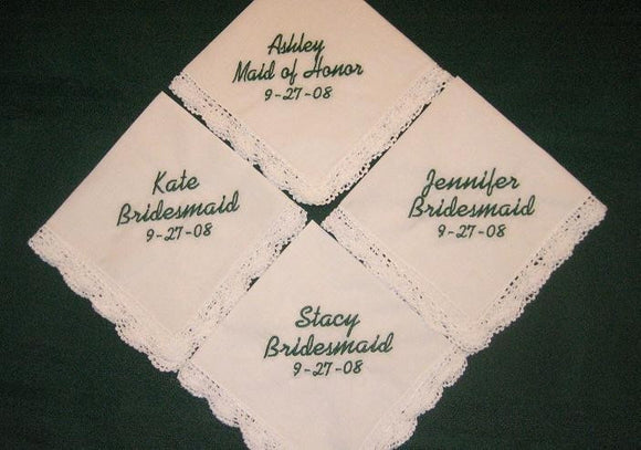 Bridal Party Gift Hanky Set with 4 Gift Boxes, bridesmaids set, wedding day gifts,