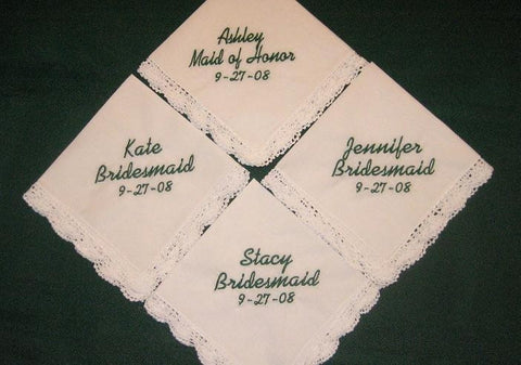 Bridal Party Gift Hanky Set with 4 Gift Boxes