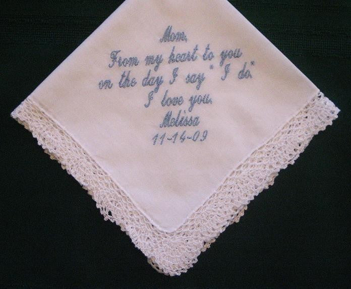 Embroidered Mother of the Bride Gift Wedding Handkerchief,58S