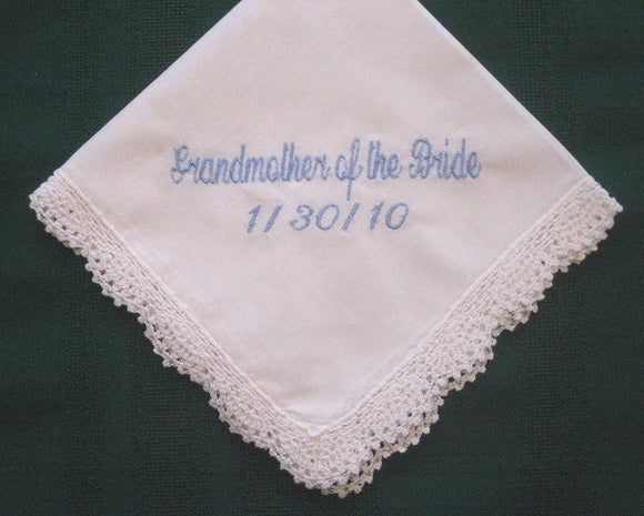 Grandmother Wedding Handkerchief with Gift Box 82S Personalized Wedding Handkerchief