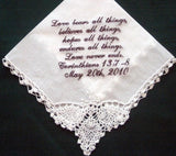 Personalized Wedding Lace Corner Handkerchief  with Gift Box 48SL