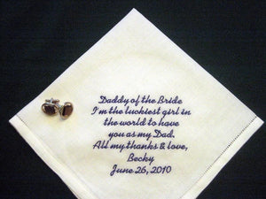 "Father of the Bride Gift, Linen Wedding Handkerchief, ""Daddy of the Bride""  79S"