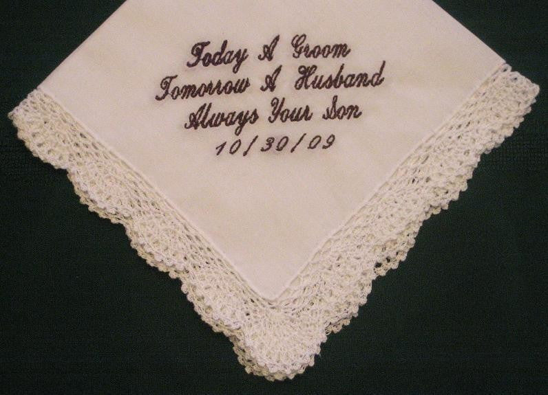 Mother of the Groom Gift Personalized Wedding Handkerchief with gift box 55S and shipping in the US