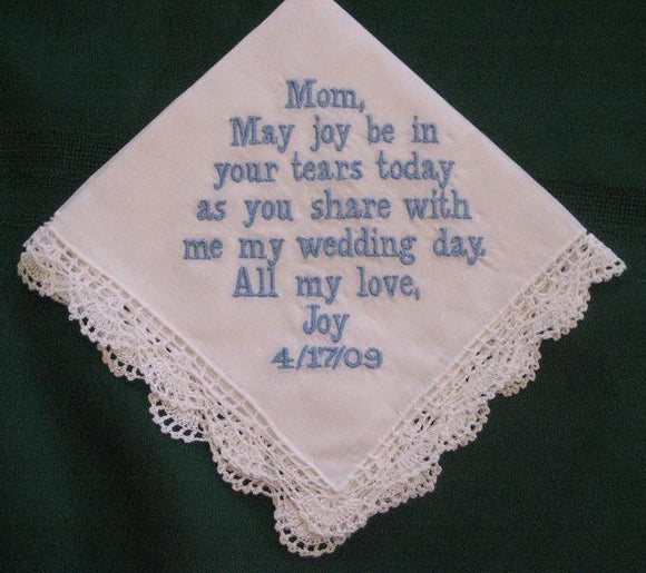 Mother of the Bride Wedding Handkerchief with Gift Box 41B Personalized Wedding Handkerchief