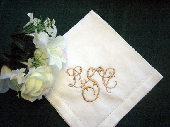 Personalized Napkins, 20 inch Hemstitched Linen Dinner Napkins Set of 12