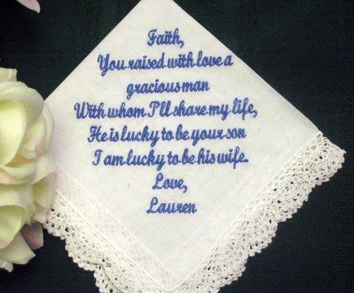 Bride to Mother of the Groom 10S bridal hanky  Personalized Wedding Handkerchief