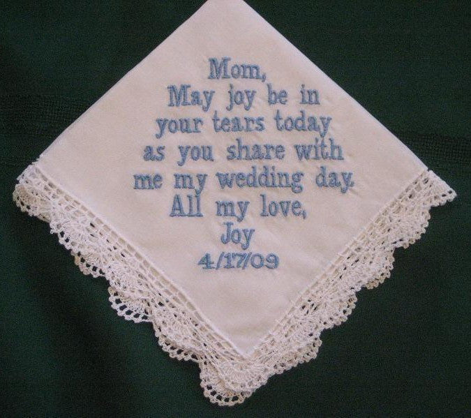 Personalized Wedding Gift Handkerchief for Mother of the Bride, bridal gift, Mum  43B