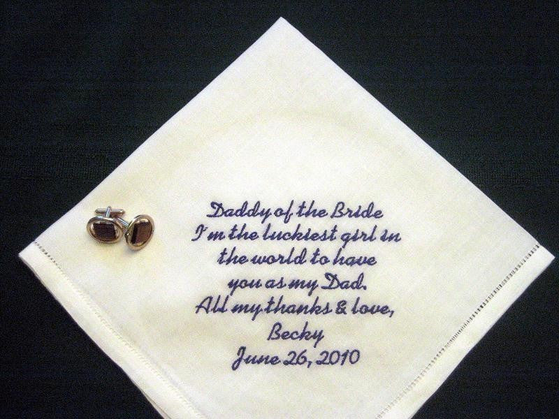 Daddy of the Bride Linen Hankie with Gift Box 79S Personalized Wedding Handkerchief