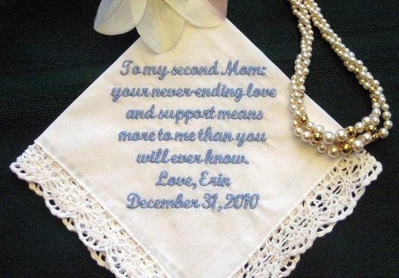Stepmother or Other Special Someone 114S Personalized Wedding Handkerchief
