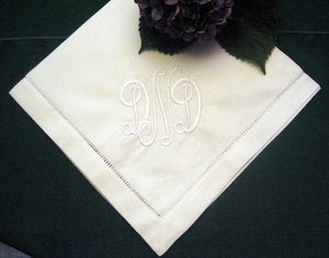 Monogrammed Napkins -Hemstitched Linen Dinner Napkin Set of 12-Cloth napkins