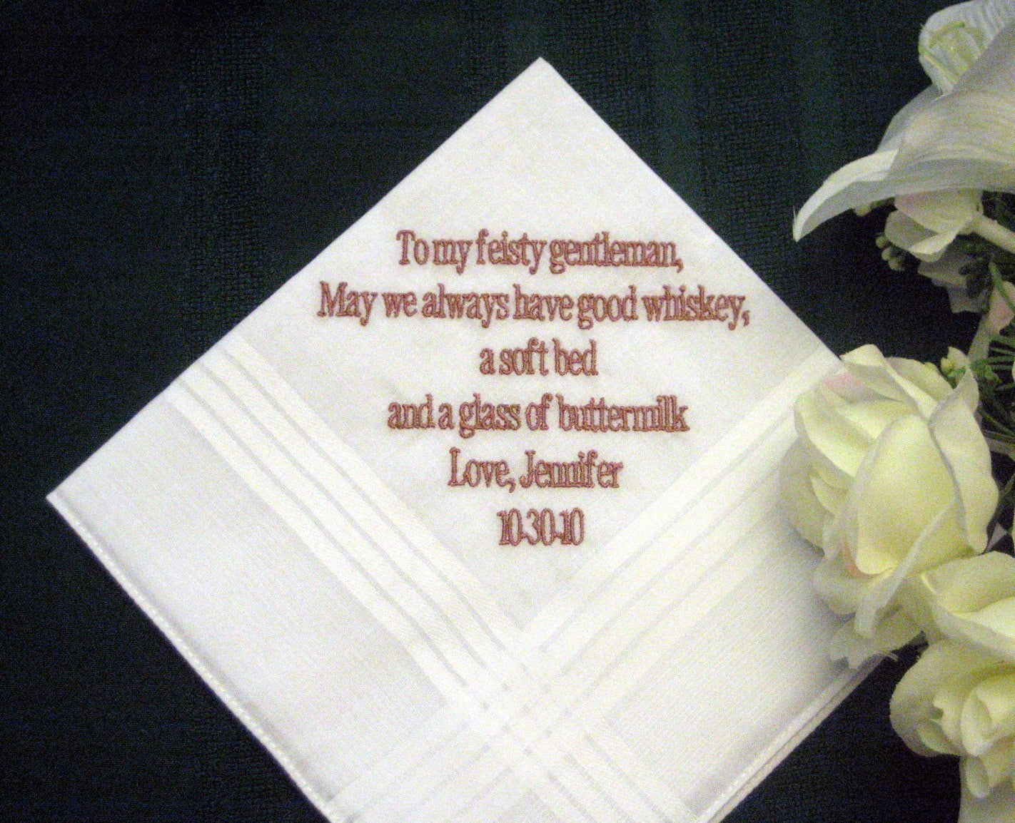 Personalized Wedding Gift - Wedding Handkerchief from Bride to Groom 3B