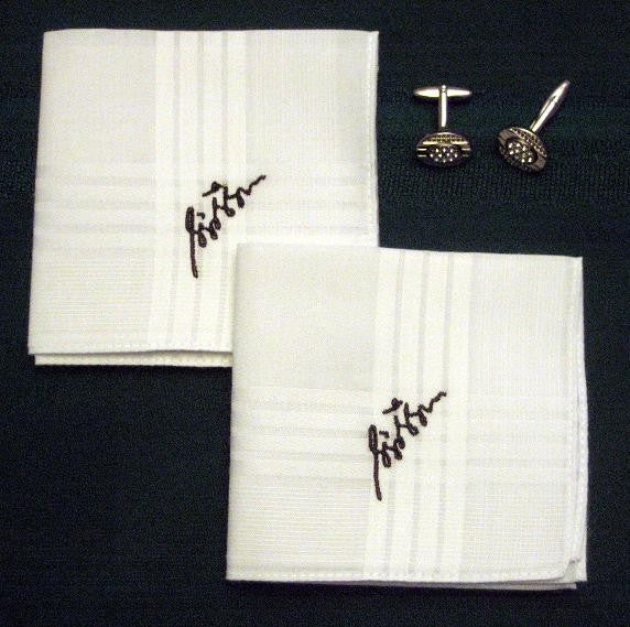 Personalized Mens Hankie Set with your own signature and gift box.