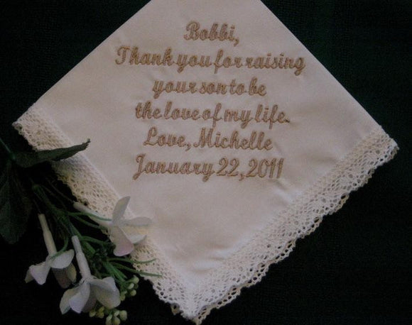 Mother of the Groom Ivory Handkerchief - Wedding handkerchief - 99S