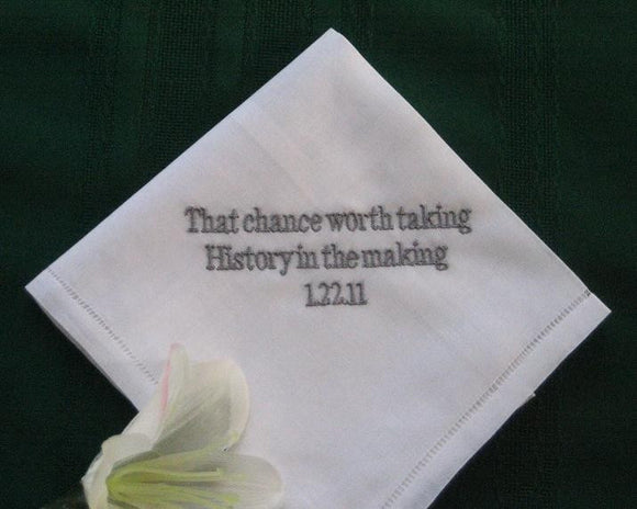 Personalized Wedding Gift -Linen Wedding Handkerchief with Gift Box 67B includes shipping in the US