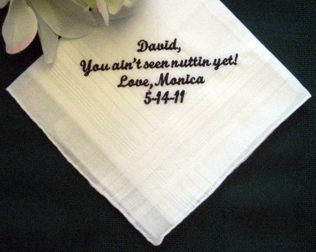 Personalized Wedding Handkerchief from the Bride to the Groom with Gift Box 77S