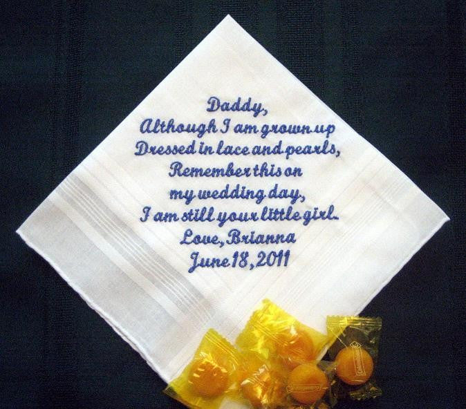 Bride to her Father - Dad - Daddy 27S Personalized Wedding Handkerchief