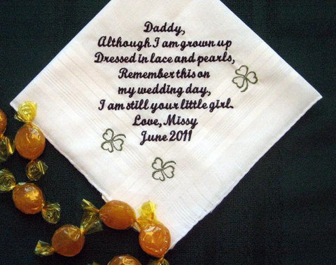 Dad with Clovers from the Bride  105S  Personalized Wedding Handkerchief father of the Bride