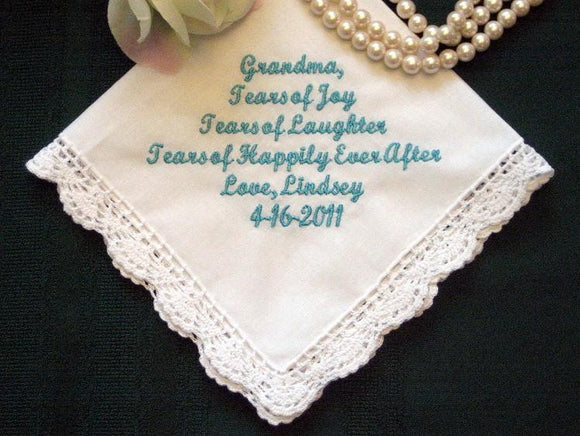 Grandmother 96S Personalized Wedding Handkerchief