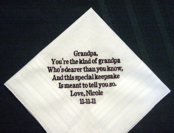 Bride or Groom to Grandfather 109B includes shipping in the US Personalized Wedding Handkerchief