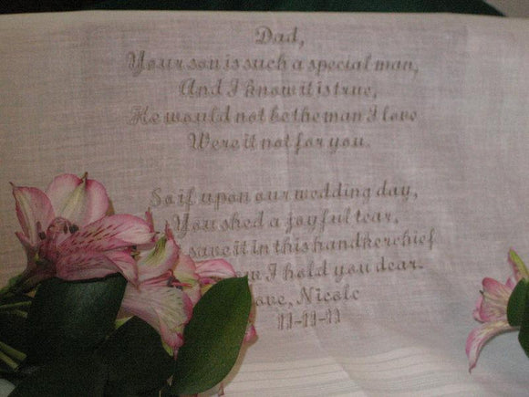 White Personalized Father of the Groom of Personalized Wedding Handkerchief