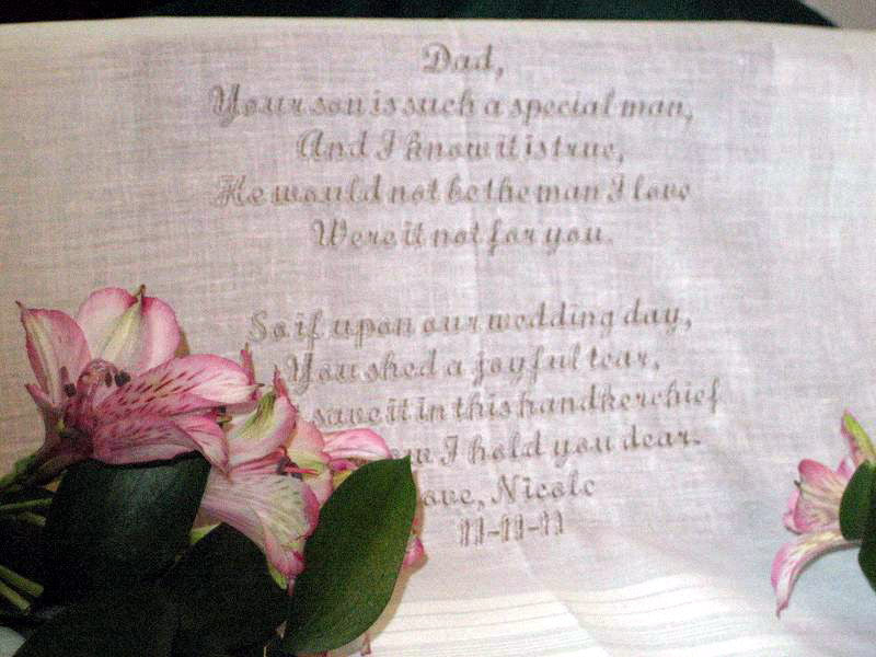 Bride to Father of the Groom 111S Personalized Wedding Handkerchief