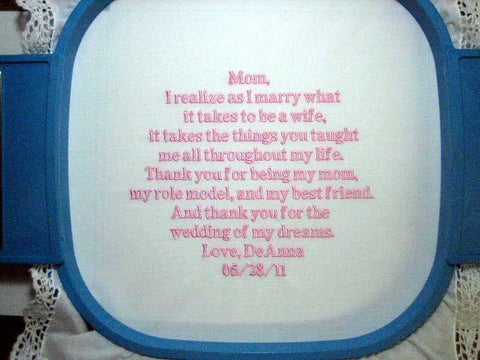 Embroidered Mother of the Bride Gift Handkerchief, Wedding Handkerchief 113B