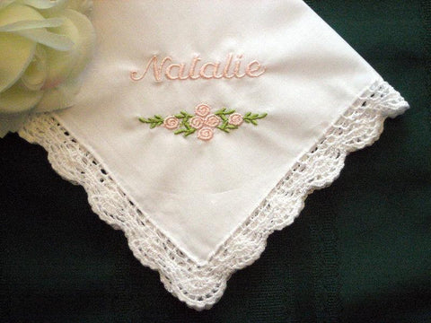 Flower Girl Gift, Personalized Wedding Handkerchief with gift box and includes shipping in the US