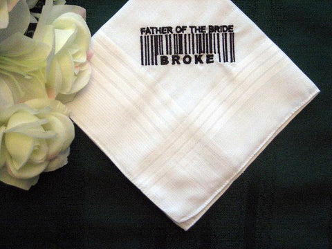 Embroidered Father of the Bride Handkerchief,Groomsman, Personalized 140B