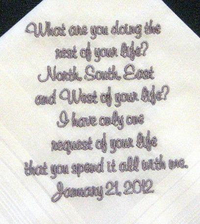 Personalized Wedding Handkerchief for Bride or Groom 122S