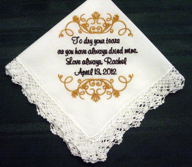 Embroidered Mother of the Bride Gift,Handkerchie, Wedding Handkerchief 125S