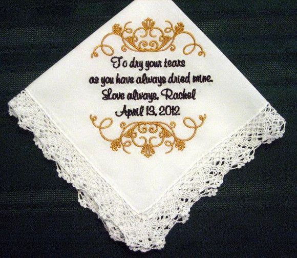 Embroidered Mother of the Bride Gift Wedding Handkerchief