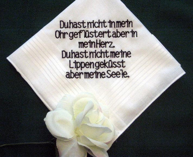 Personalized Wedding Gift Handkerchief 132B from Bride to Groom in German