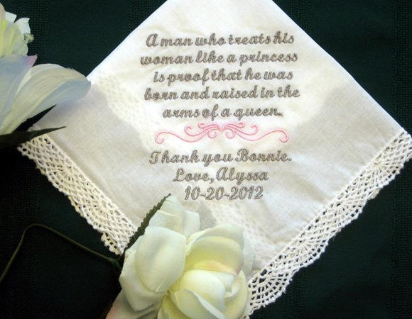 Mother of Groom Handkerchief-hanky-hankie-wedding gift 134S includes shipping in the US