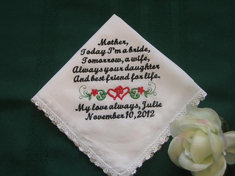 Mother of the Bride  with Gift Box 137S Personalized Wedding Handkerchief