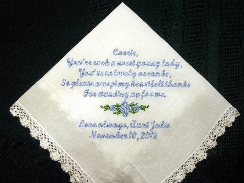 Personalized wedding handkerchief hanky hankie for Junior Bridesmaid or flower girl  138S