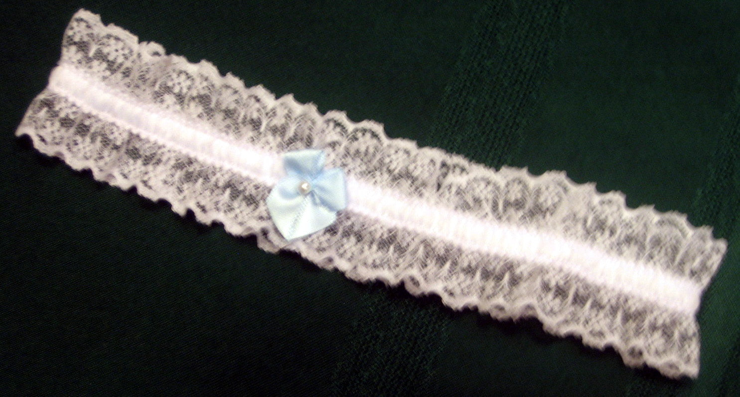 Garter made to size. Toss garter, something blue,
