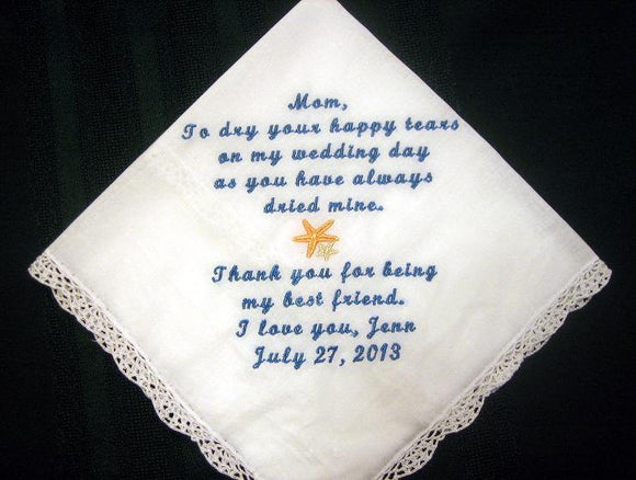 Mother of the Bride with Starfish 148S Personalized Wedding Handkerchief