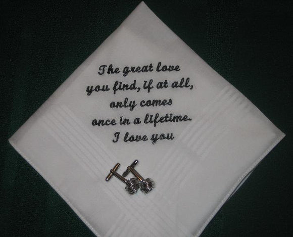 Personalized wedding handkerchief for either the bride or the groom 152S