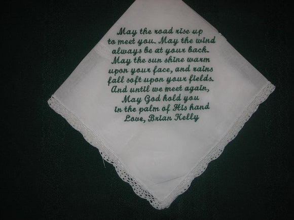 Personalised Wedding Gift Irish blessing handkerchief 153S
