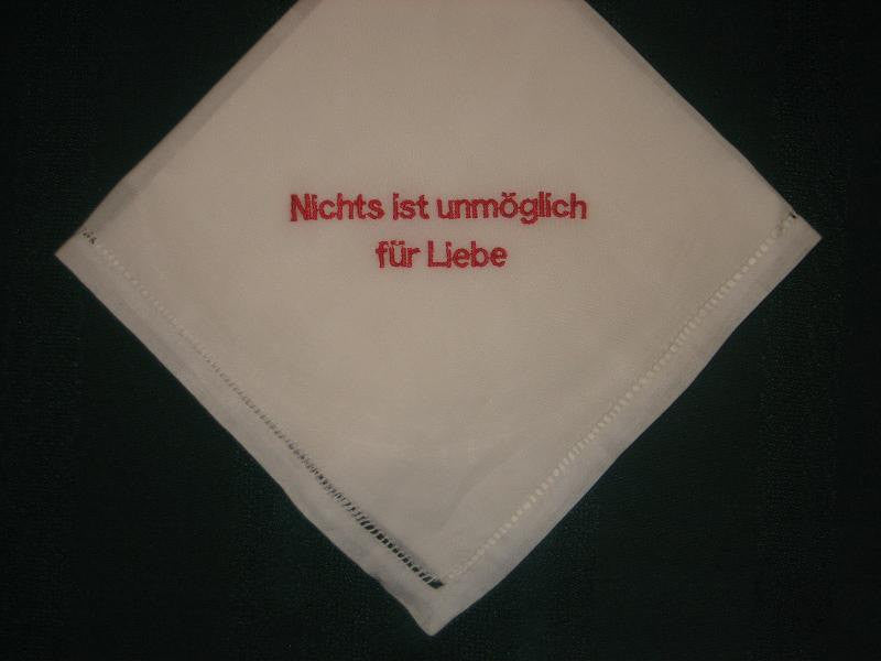 Linen Wedding Handkerchief 155B in German includes gift box and shipping in the US.