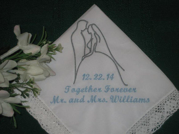 Wedding Handkerchief - Wedding Silhouette Handkerchief - 158S