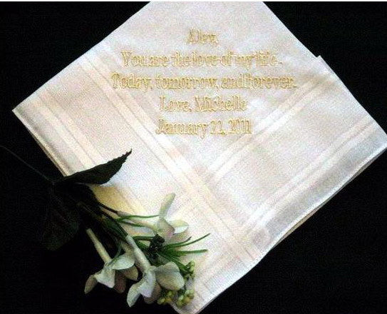 Personalized Wedding Handkerchief 159B from the bride to the groom