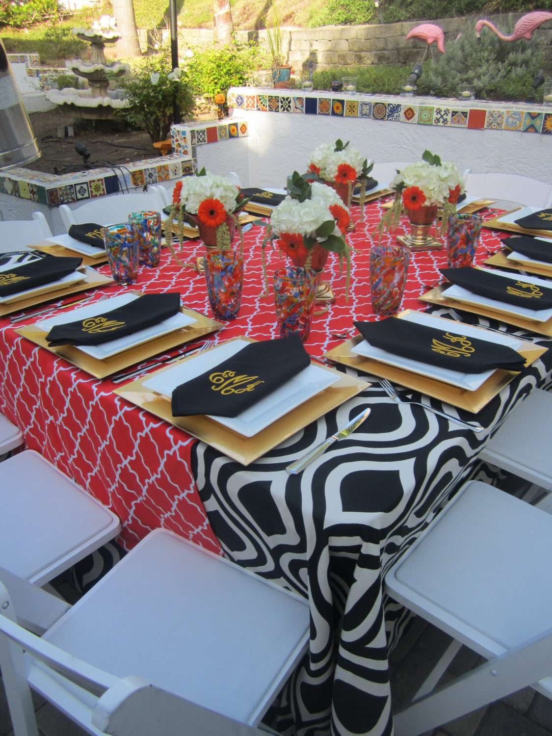 12 monogrammed dinner napkins in black with shipping in the US