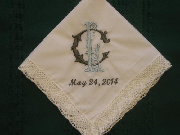 Personalized Wedding Handkerchief with 2 stacked initials. includes FREE gift box