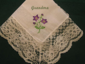 Handkerchief with flowers 142S Personalized Wedding Handkerchief