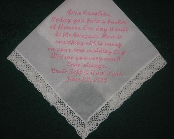 Personalized wedding handkerchief hanky, for your fower girl 167S